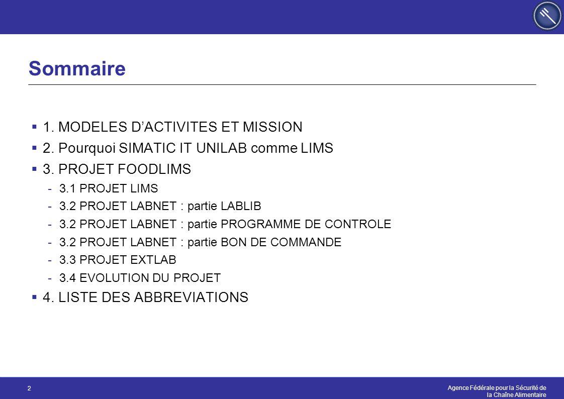 Sommaire 1. MODELES D'ACTIVITES ET MISSION