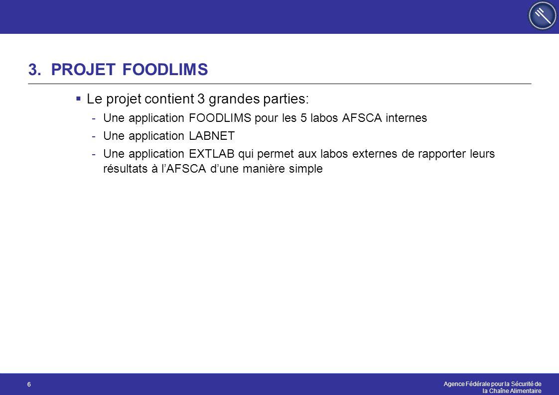 3. PROJET FOODLIMS Le projet contient 3 grandes parties:
