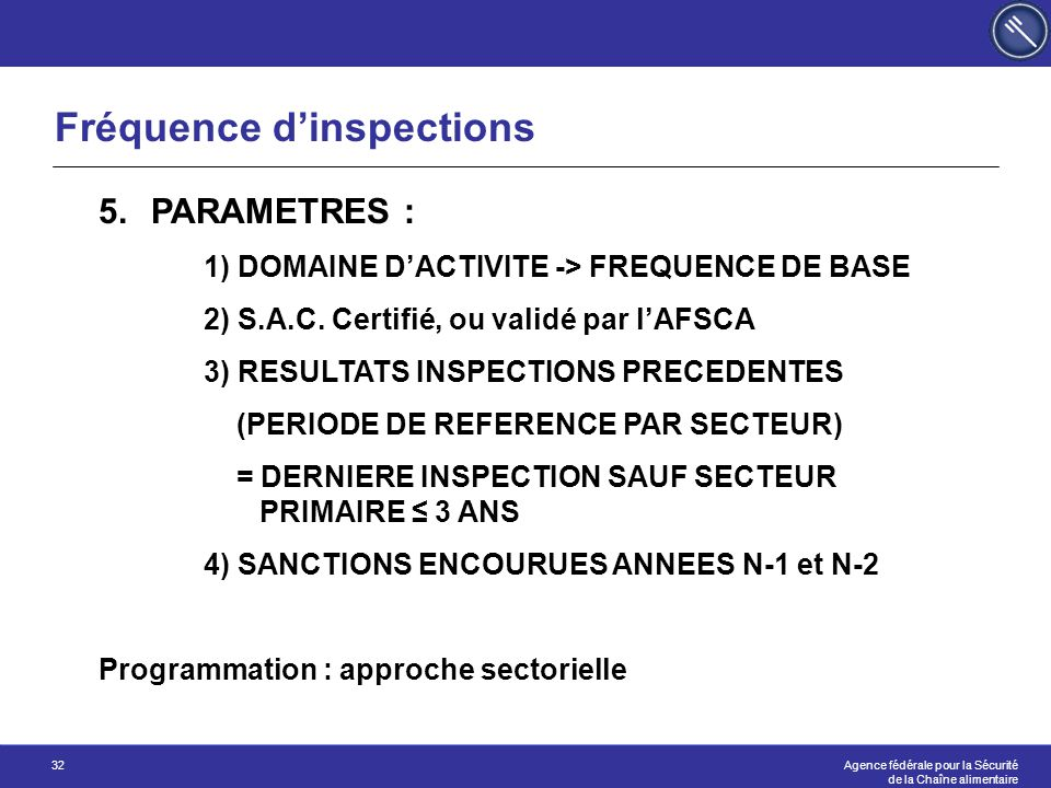 Fréquence d'inspections