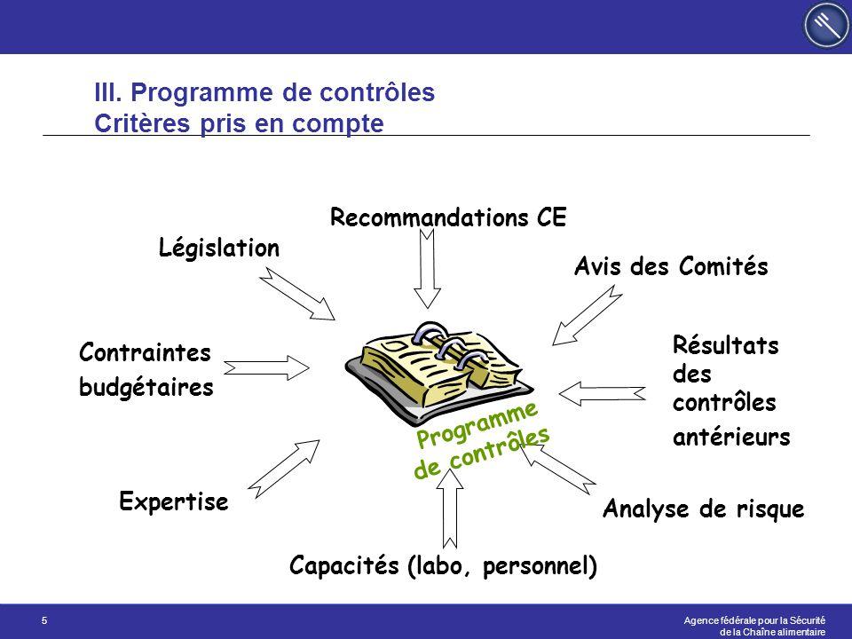III. Programme de contrôles Critères pris en compte