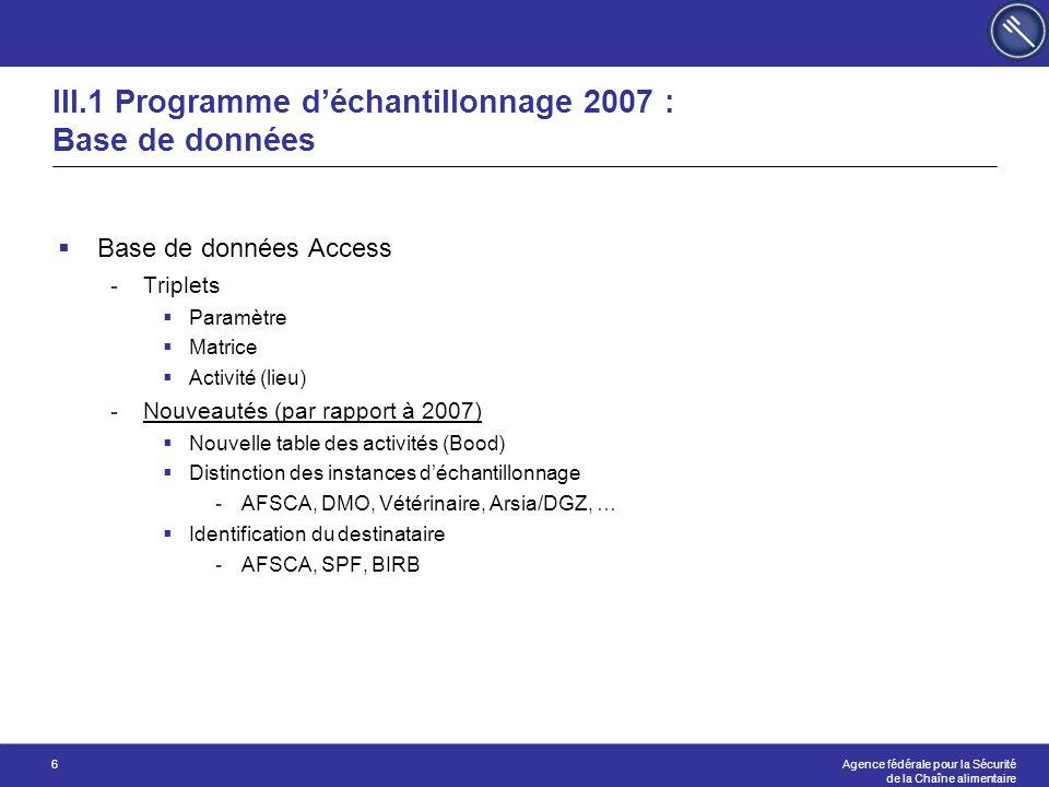 III.1 Programme d'échantillonnage 2007 : Base de données