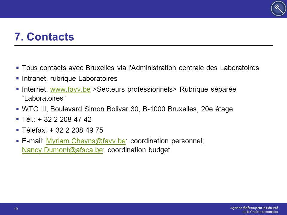 7. Contacts Tous contacts avec Bruxelles via l'Administration centrale des Laboratoires. Intranet, rubrique Laboratoires.