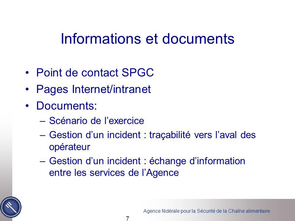 Informations et documents