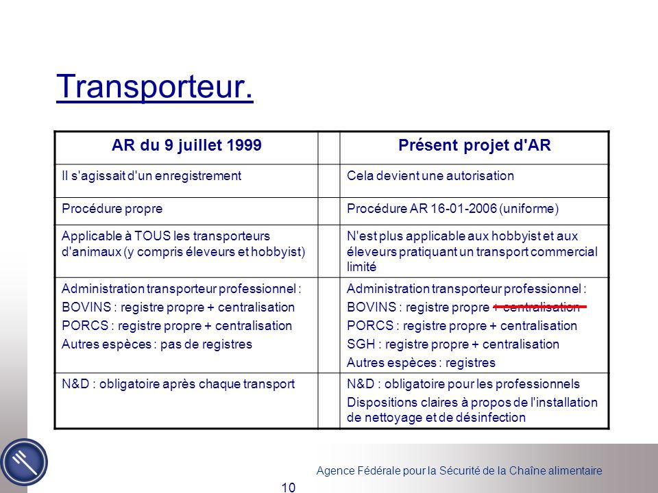 Transporteur. AR du 9 juillet 1999 Présent projet d AR