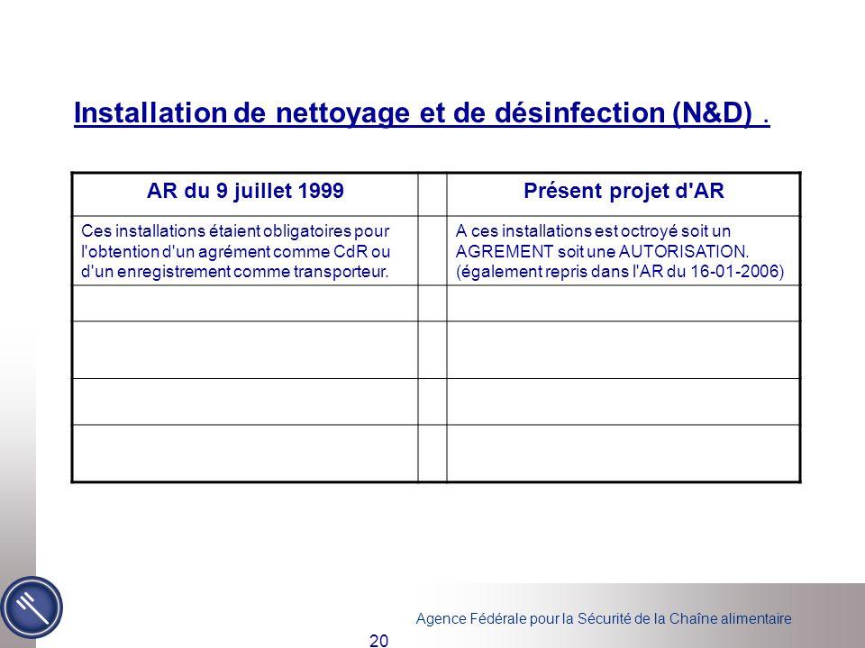 Installation de nettoyage et de désinfection (N&D) .