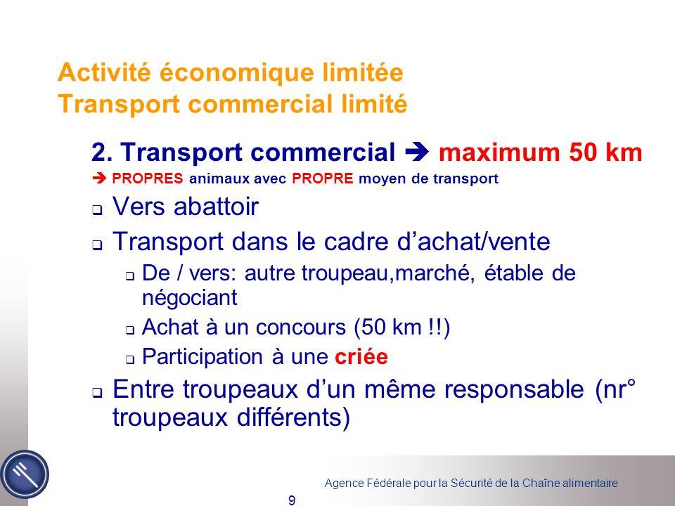 Activité économique limitée Transport commercial limité