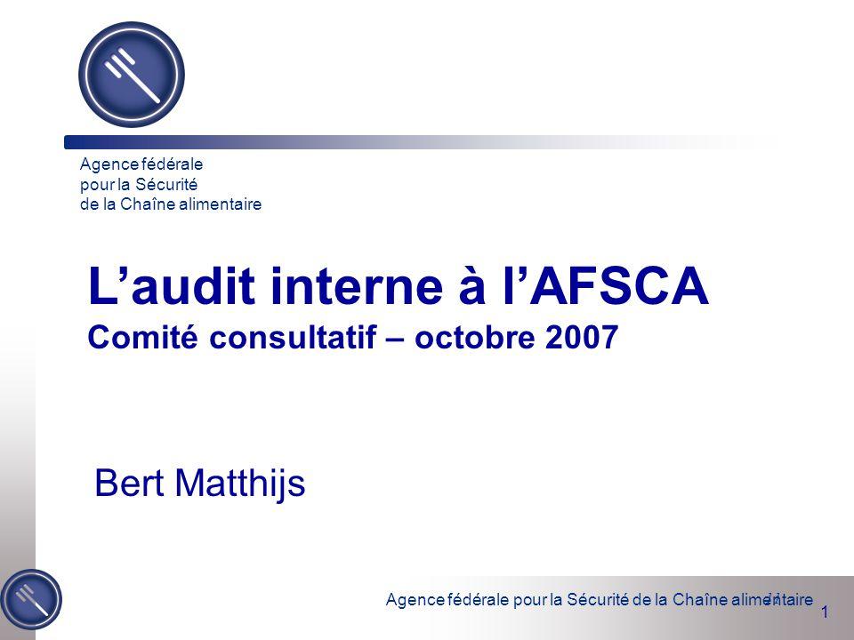 L'audit interne à l'AFSCA