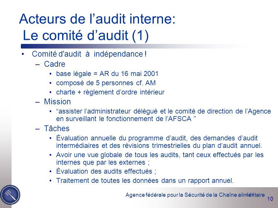 Acteurs de l'audit interne: Le comité d'audit (1)