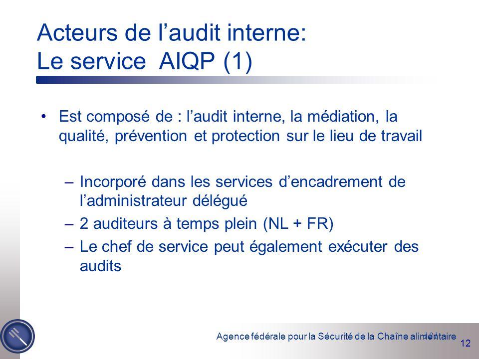 Acteurs de l'audit interne: Le service AIQP (1)