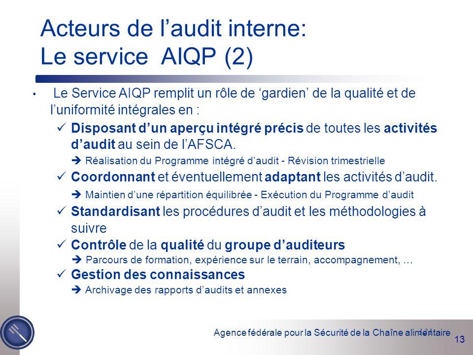 Acteurs de l'audit interne: Le service AIQP (2)