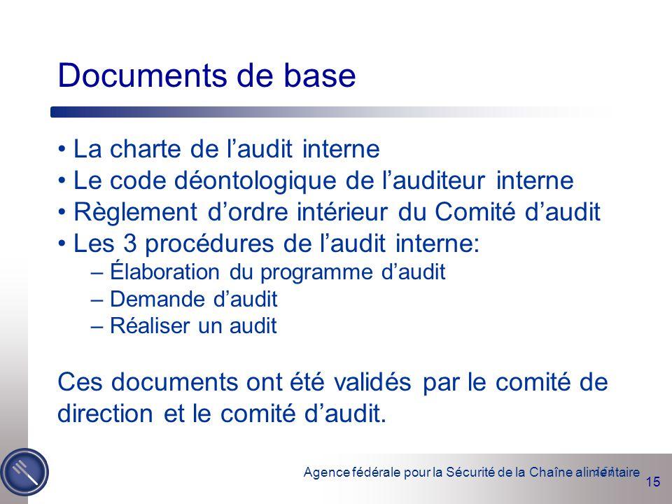 Documents de base La charte de l'audit interne