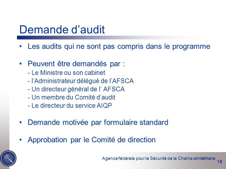 Demande d'audit Les audits qui ne sont pas compris dans le programme
