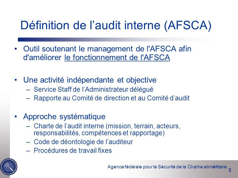 Définition de l'audit interne (AFSCA)