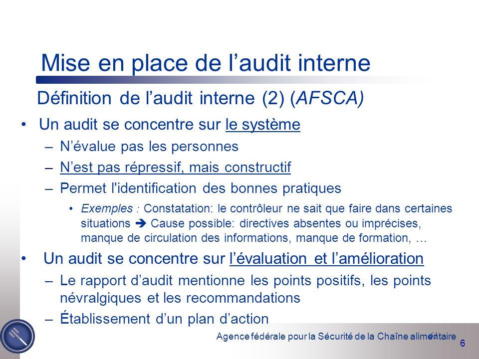 Mise en place de l'audit interne