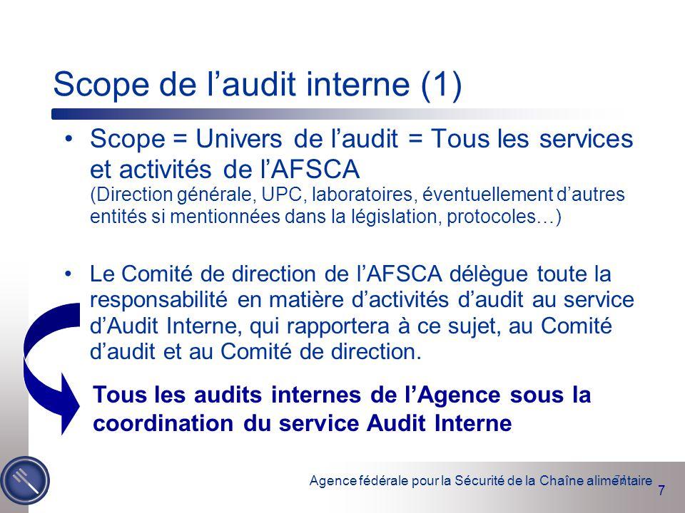 Scope de l'audit interne (1)