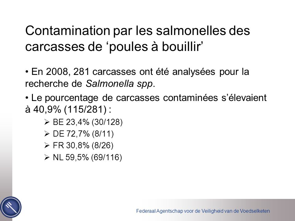 Contamination par les salmonelles des carcasses de 'poules à bouillir'