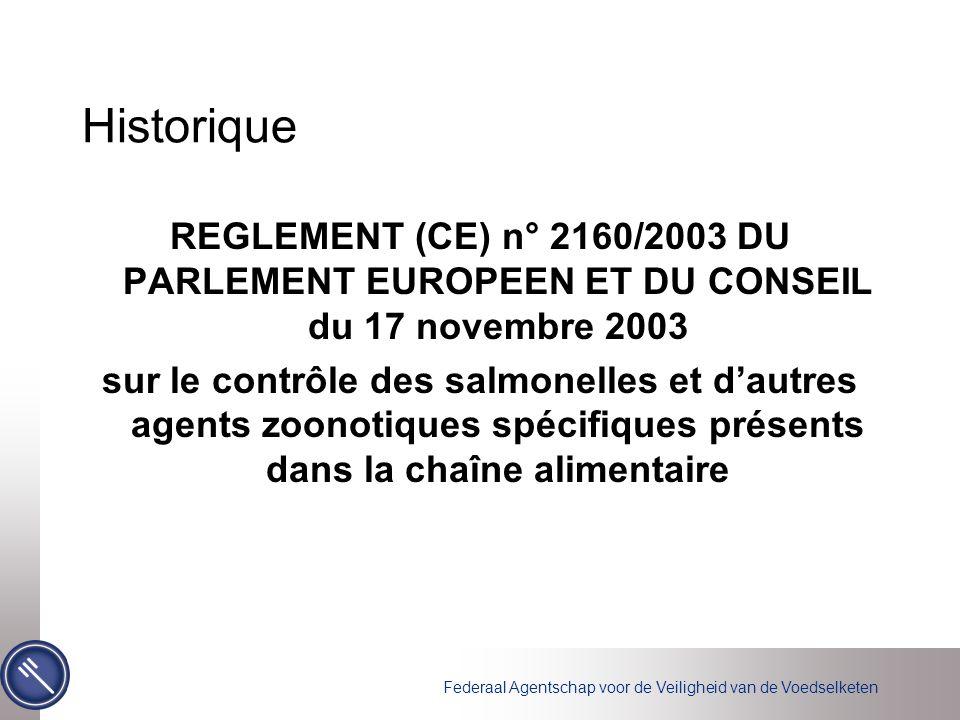 Historique REGLEMENT (CE) n° 2160/2003 DU PARLEMENT EUROPEEN ET DU CONSEIL du 17 novembre 2003.