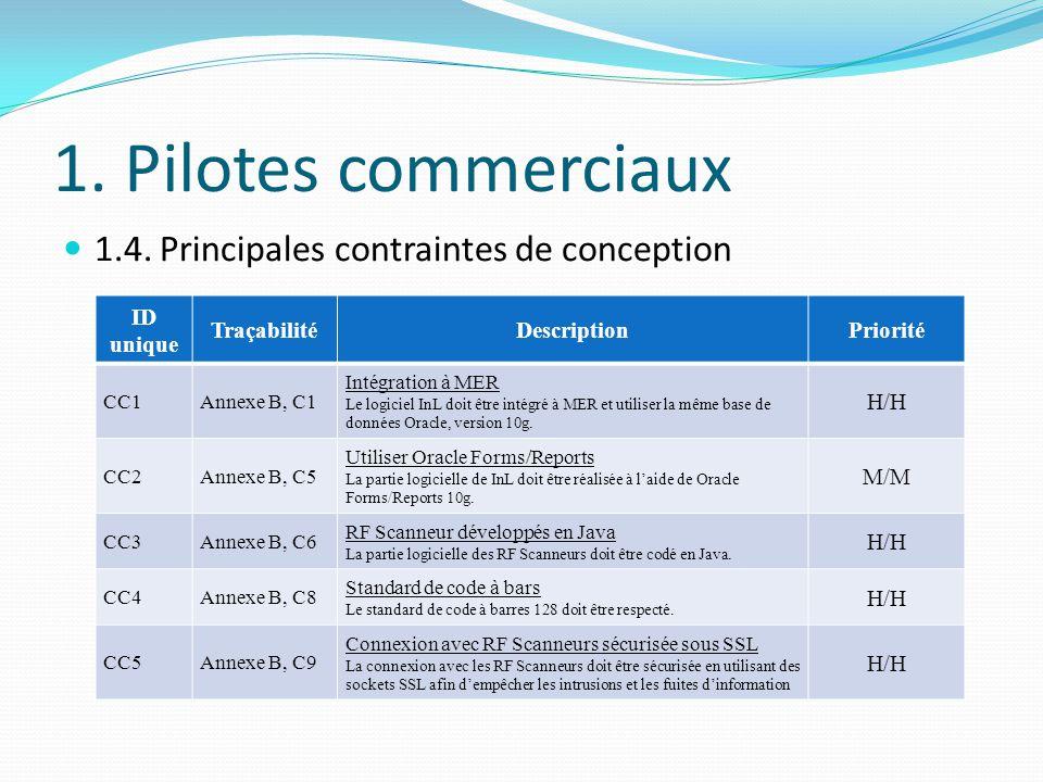 1. Pilotes commerciaux 1.4. Principales contraintes de conception
