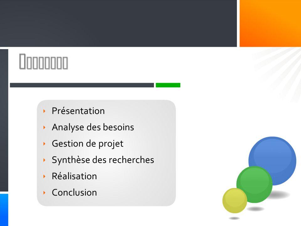 Sommaire Présentation Analyse des besoins Gestion de projet