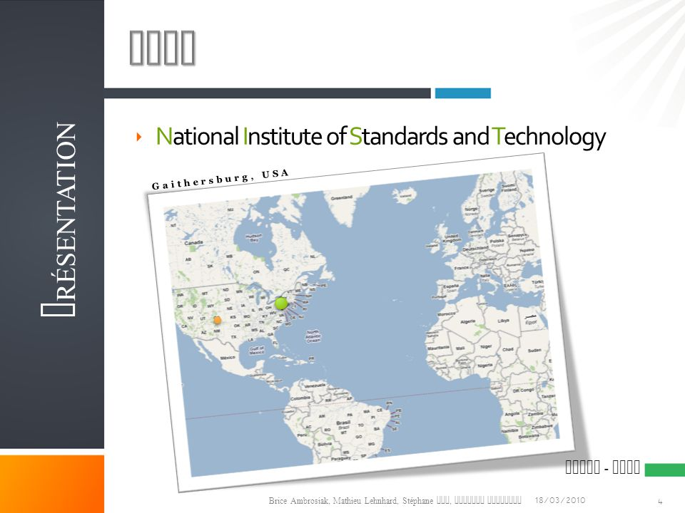 NIST Présentation National Institute of Standards and Technology M