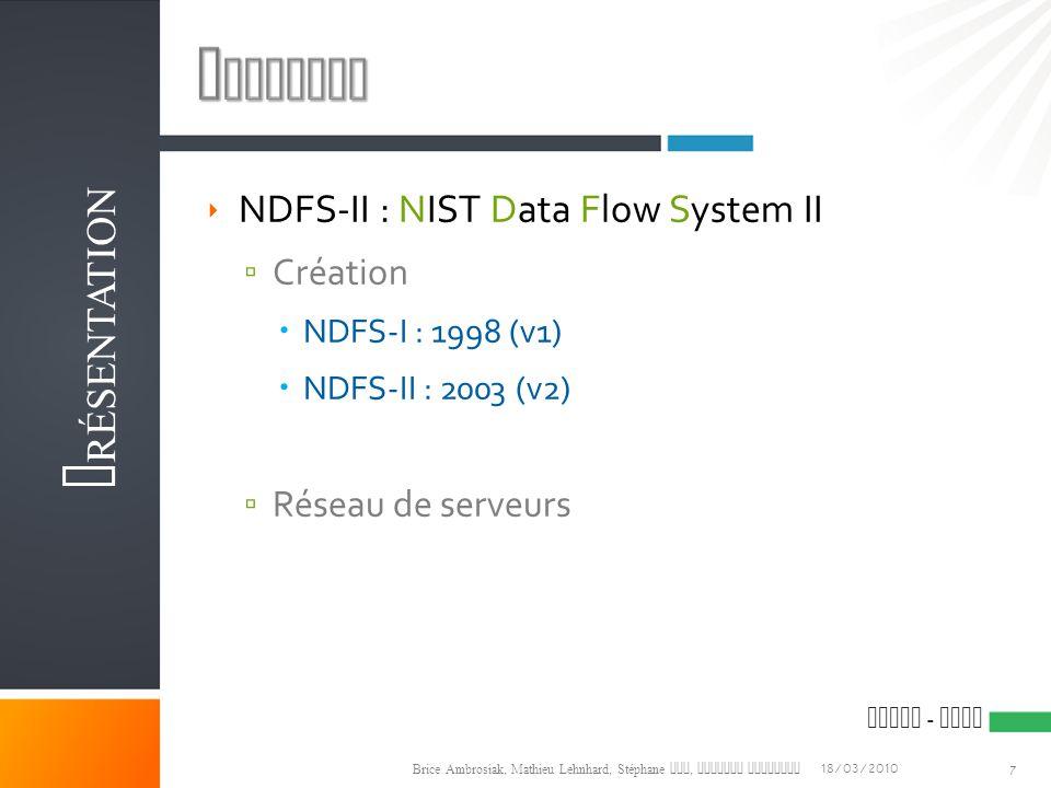 Contexte Présentation NDFS-II : NIST Data Flow System II Création