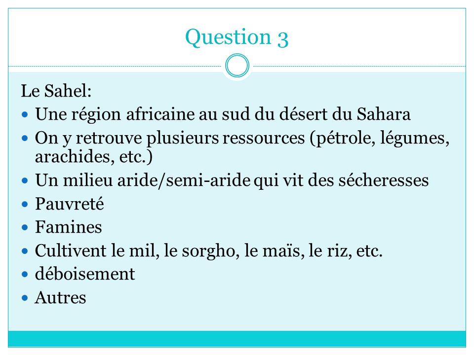 Question 3 Le Sahel: Une région africaine au sud du désert du Sahara