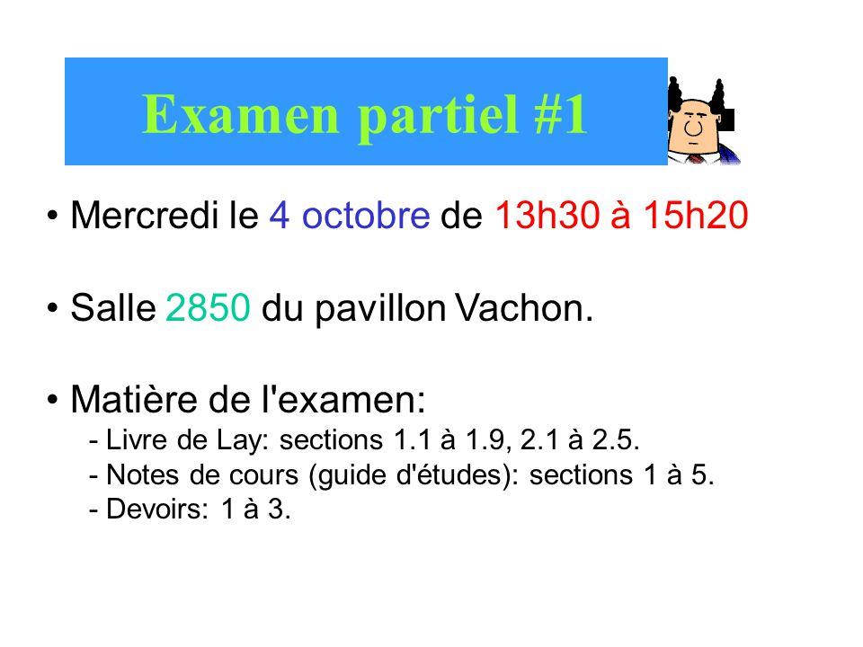 Examen partiel #1 Mercredi le 4 octobre de 13h30 à 15h20