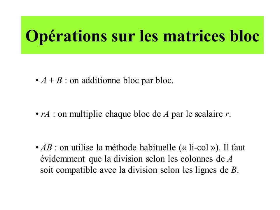 Opérations sur les matrices bloc
