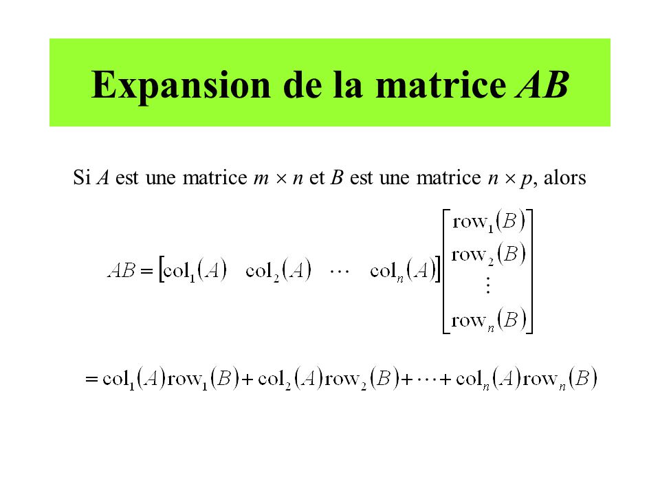Expansion de la matrice AB