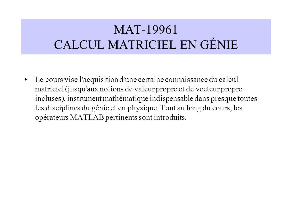 MAT-19961 CALCUL MATRICIEL EN GÉNIE