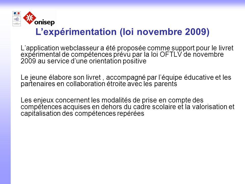 L'expérimentation (loi novembre 2009)