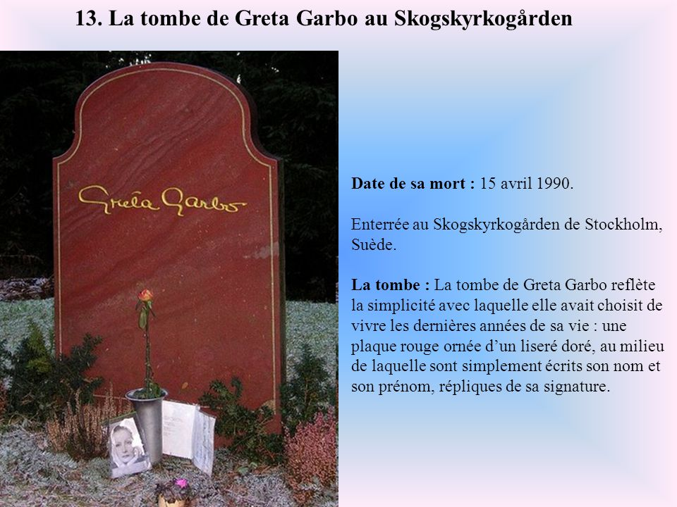 13. La tombe de Greta Garbo au Skogskyrkogården