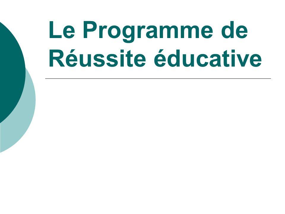 Le Programme de Réussite éducative