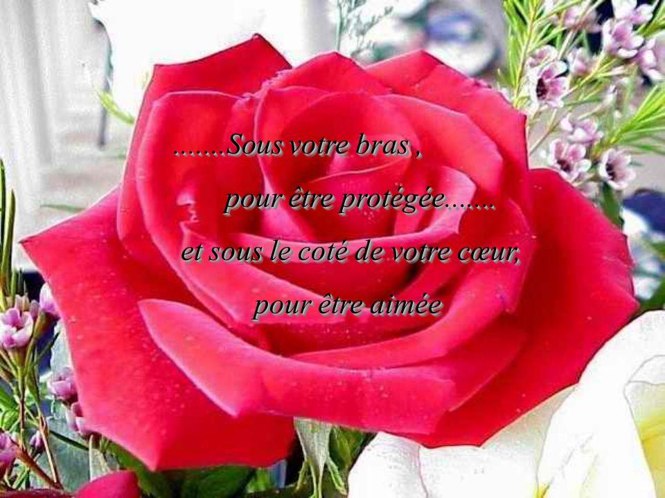 .......Sous votre bras , pour être protégée....... et sous le coté de votre cœur, pour être aimée