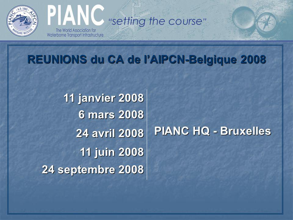 REUNIONS du CA de l'AIPCN-Belgique 2008