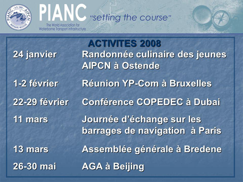 ACTIVITES 2008 24 janvier. Randonnée culinaire des jeunes AIPCN à Ostende. 1-2 février. Réunion YP-Com à Bruxelles.