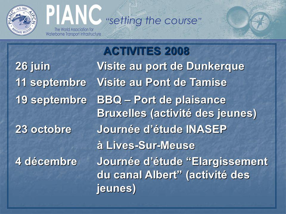 ACTIVITES 2008 26 juin. Visite au port de Dunkerque. 11 septembre. Visite au Pont de Tamise. 19 septembre.
