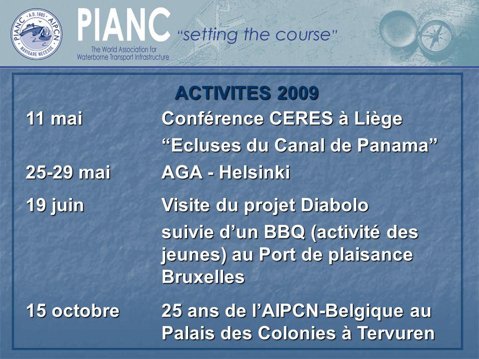 ACTIVITES 2009 11 mai. Conférence CERES à Liège. Ecluses du Canal de Panama 25-29 mai. AGA - Helsinki.