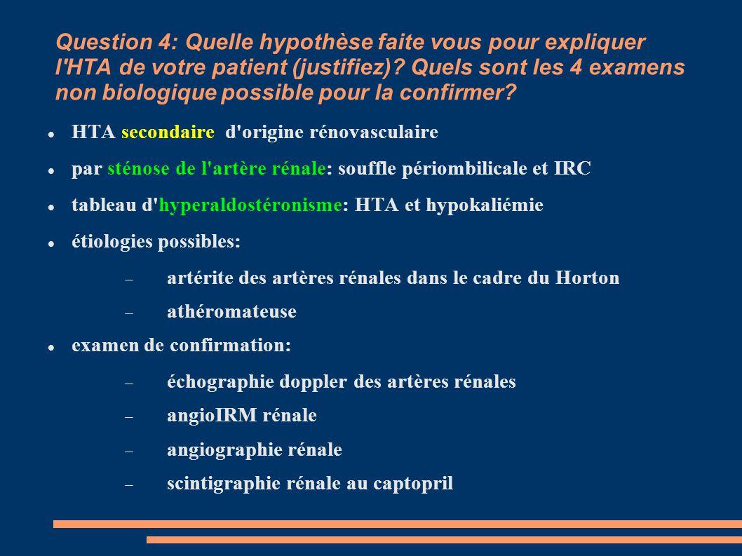 Question 4: Quelle hypothèse faite vous pour expliquer l HTA de votre patient (justifiez) Quels sont les 4 examens non biologique possible pour la confirmer