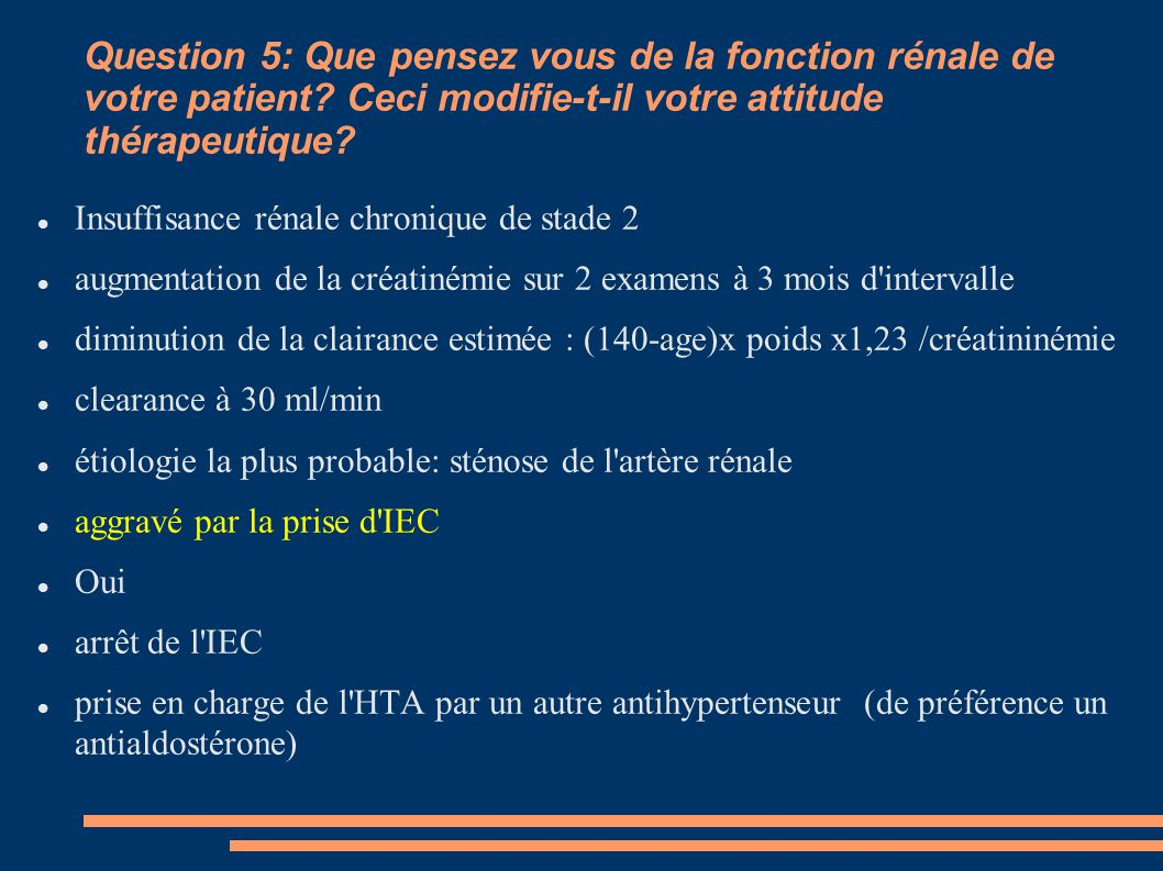 Question 5: Que pensez vous de la fonction rénale de votre patient