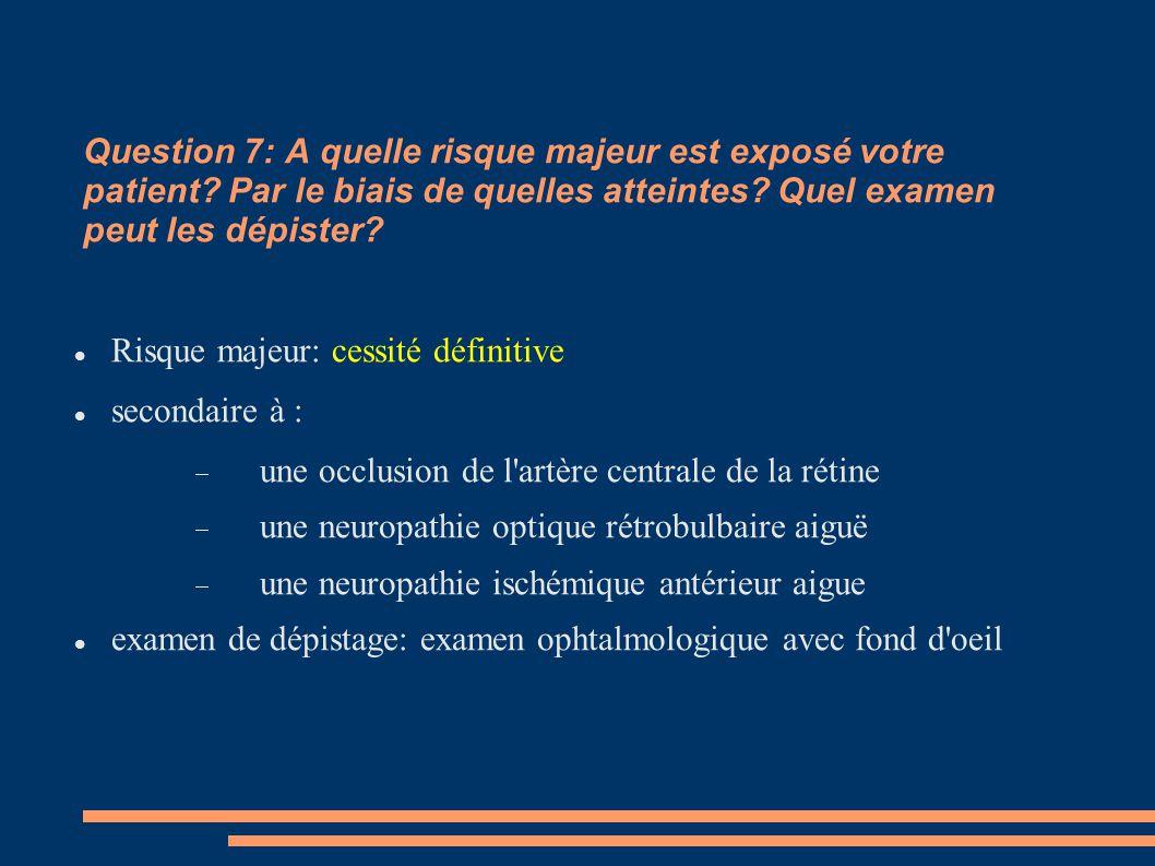 Question 7: A quelle risque majeur est exposé votre patient