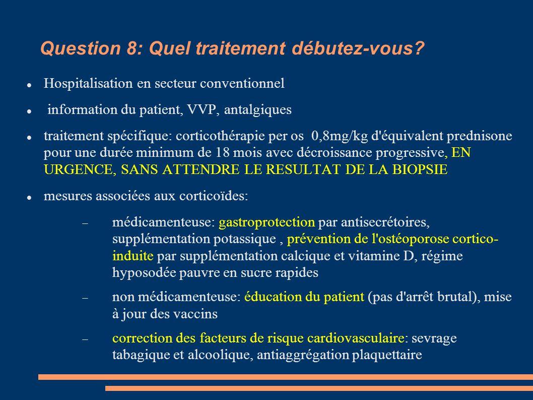 Question 8: Quel traitement débutez-vous