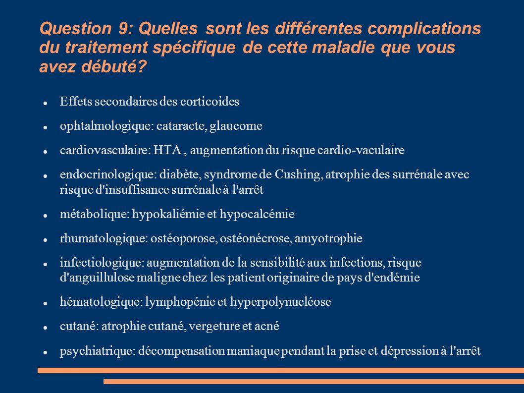 Question 9: Quelles sont les différentes complications du traitement spécifique de cette maladie que vous avez débuté