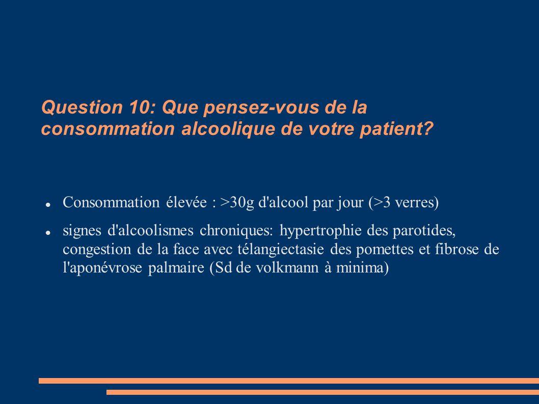 Question 10: Que pensez-vous de la consommation alcoolique de votre patient