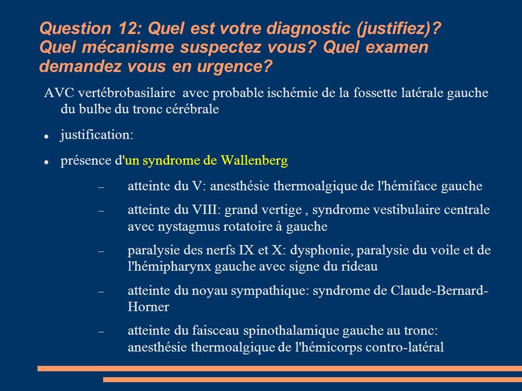 Question 12: Quel est votre diagnostic (justifiez)
