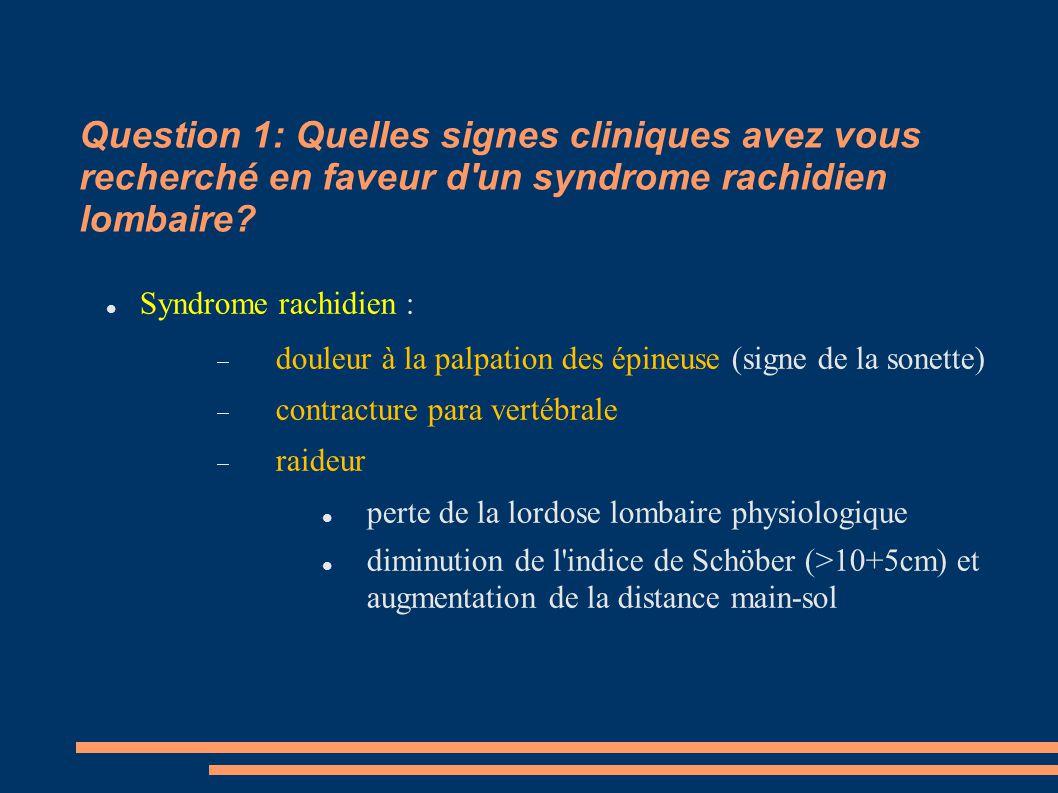 Question 1: Quelles signes cliniques avez vous recherché en faveur d un syndrome rachidien lombaire