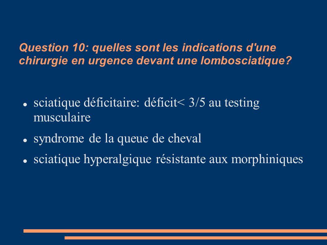 sciatique déficitaire: déficit< 3/5 au testing musculaire