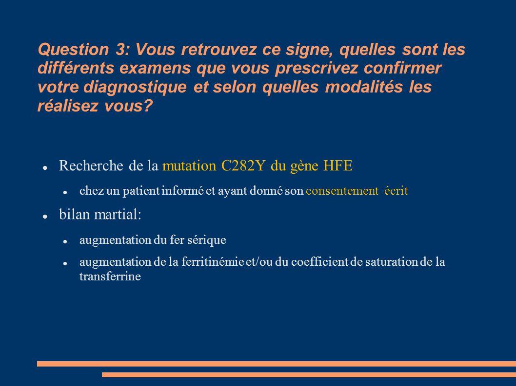 Question 3: Vous retrouvez ce signe, quelles sont les différents examens que vous prescrivez confirmer votre diagnostique et selon quelles modalités les réalisez vous