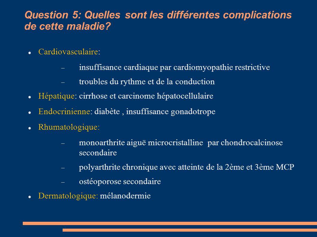 Question 5: Quelles sont les différentes complications de cette maladie
