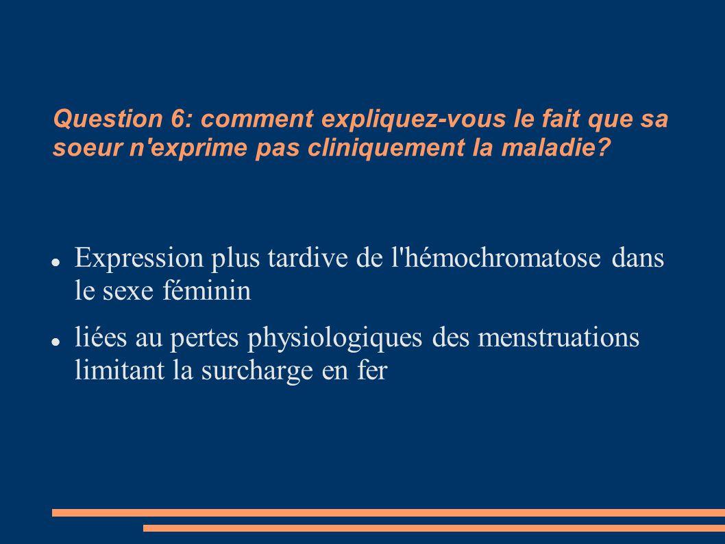 Expression plus tardive de l hémochromatose dans le sexe féminin